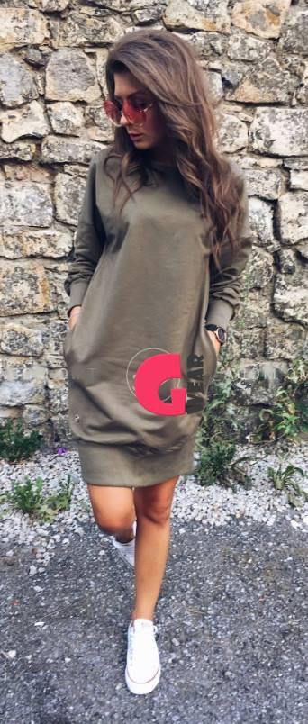 ec9a5776416 Pikkade käistega kvaliteetne dressipluusi stiilis taskutega kleit -  Naisteriided | e-pood - GLAMWEAR.EU